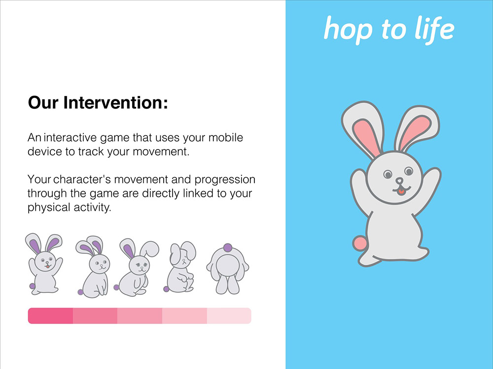 Like a Tamagotchi game, this interactive game that uses your mobile devices to track your movement. Your character`s movement through the game are directly linked to your physical activity.