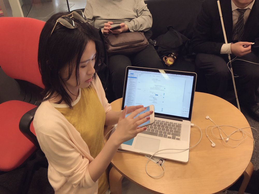 App Testing with visually impaired participants by using X-Code