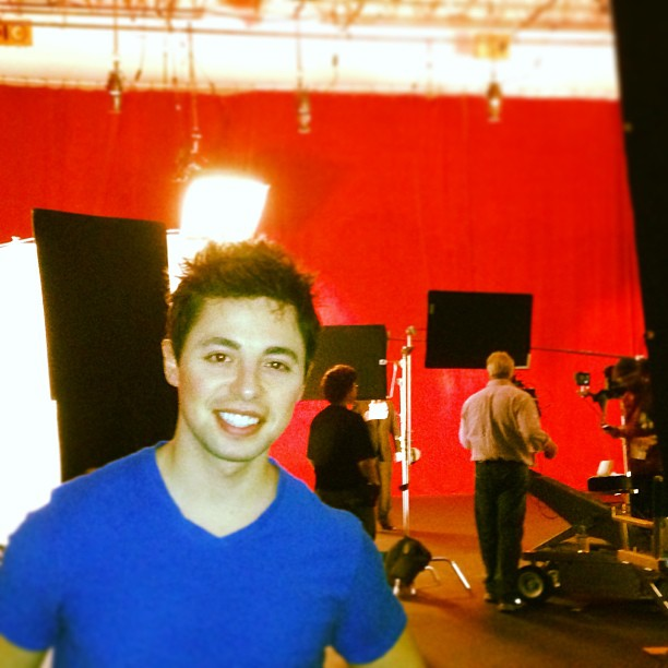 On set for the Vistaprint holiday commercial