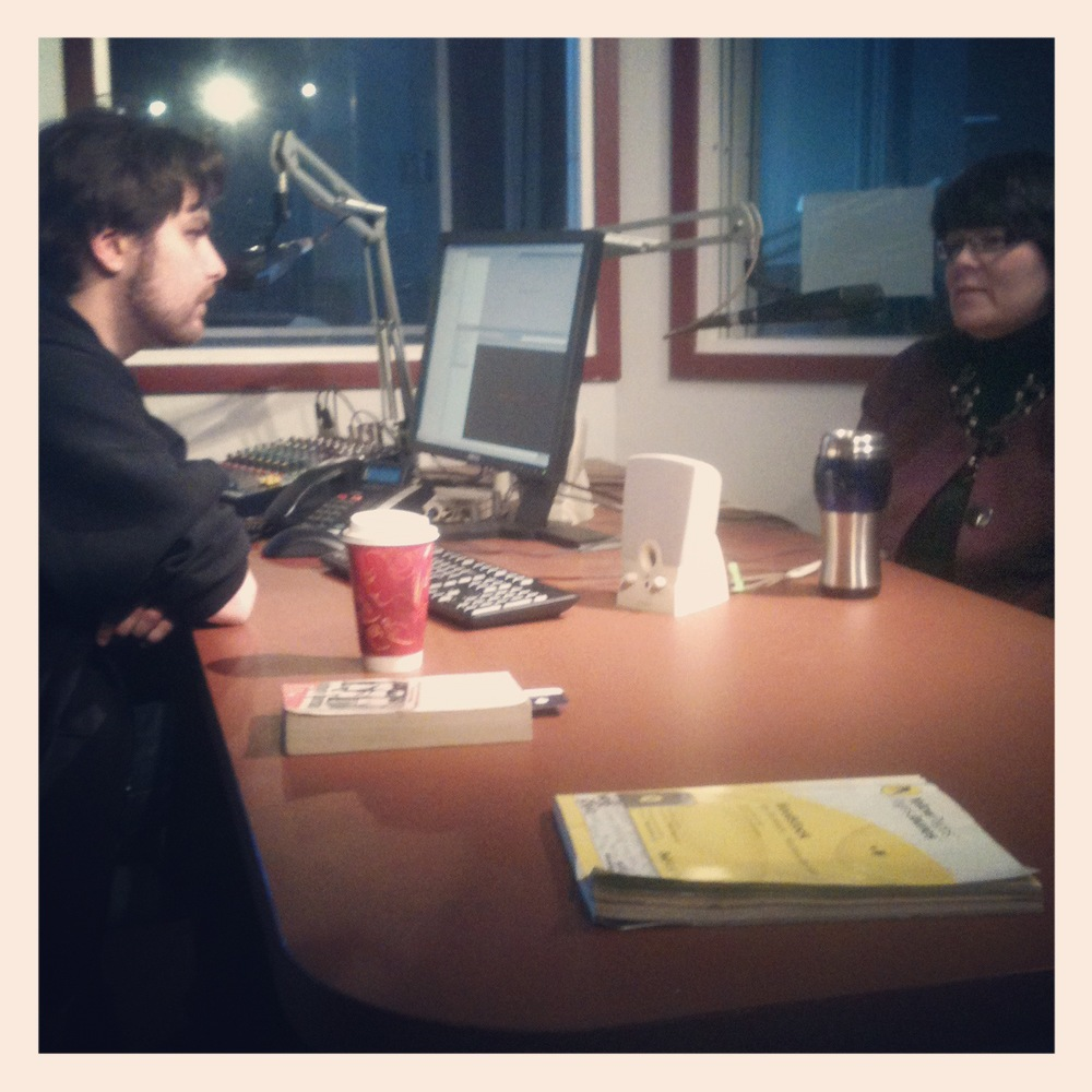 Jason and Theresa recording the first episode of The Starting Point.