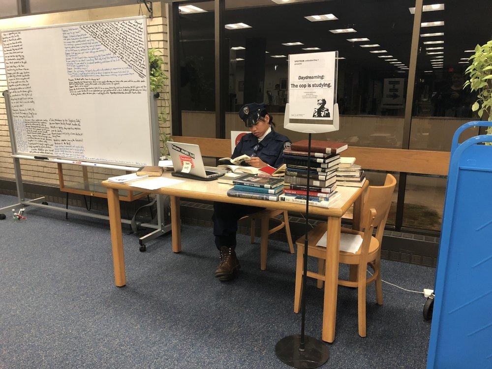 Rina Espiritu, Daydreaming: The cop is studying, MCLA FREEl Library