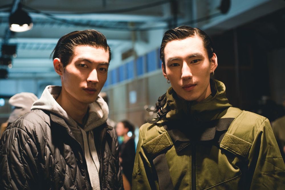 Backstage at Christopher Raeburn; photography by Mehul Derodra