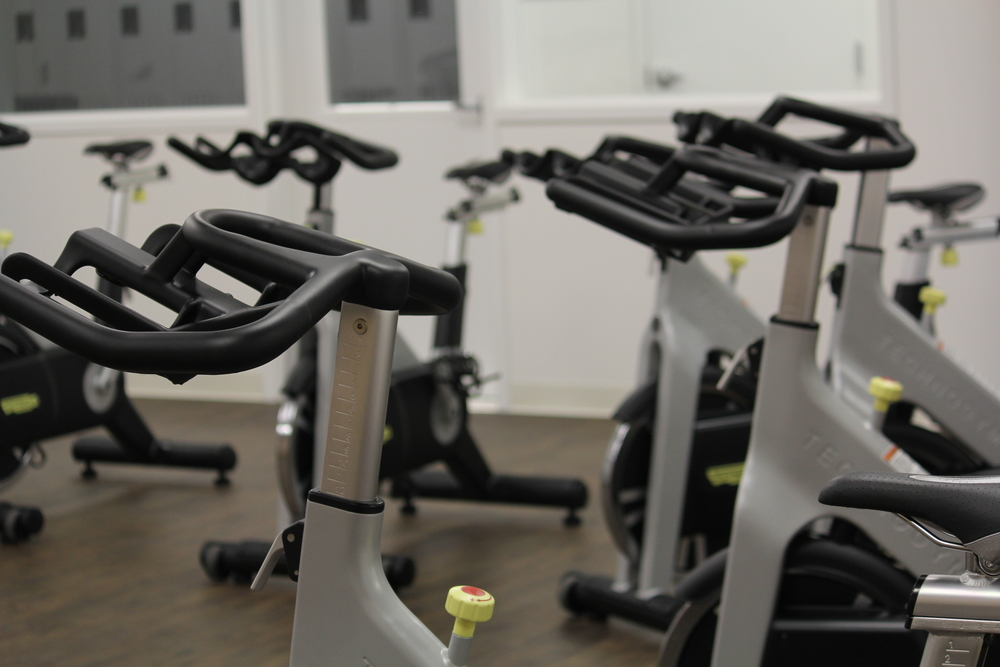 An entire room of stationary bikes.
