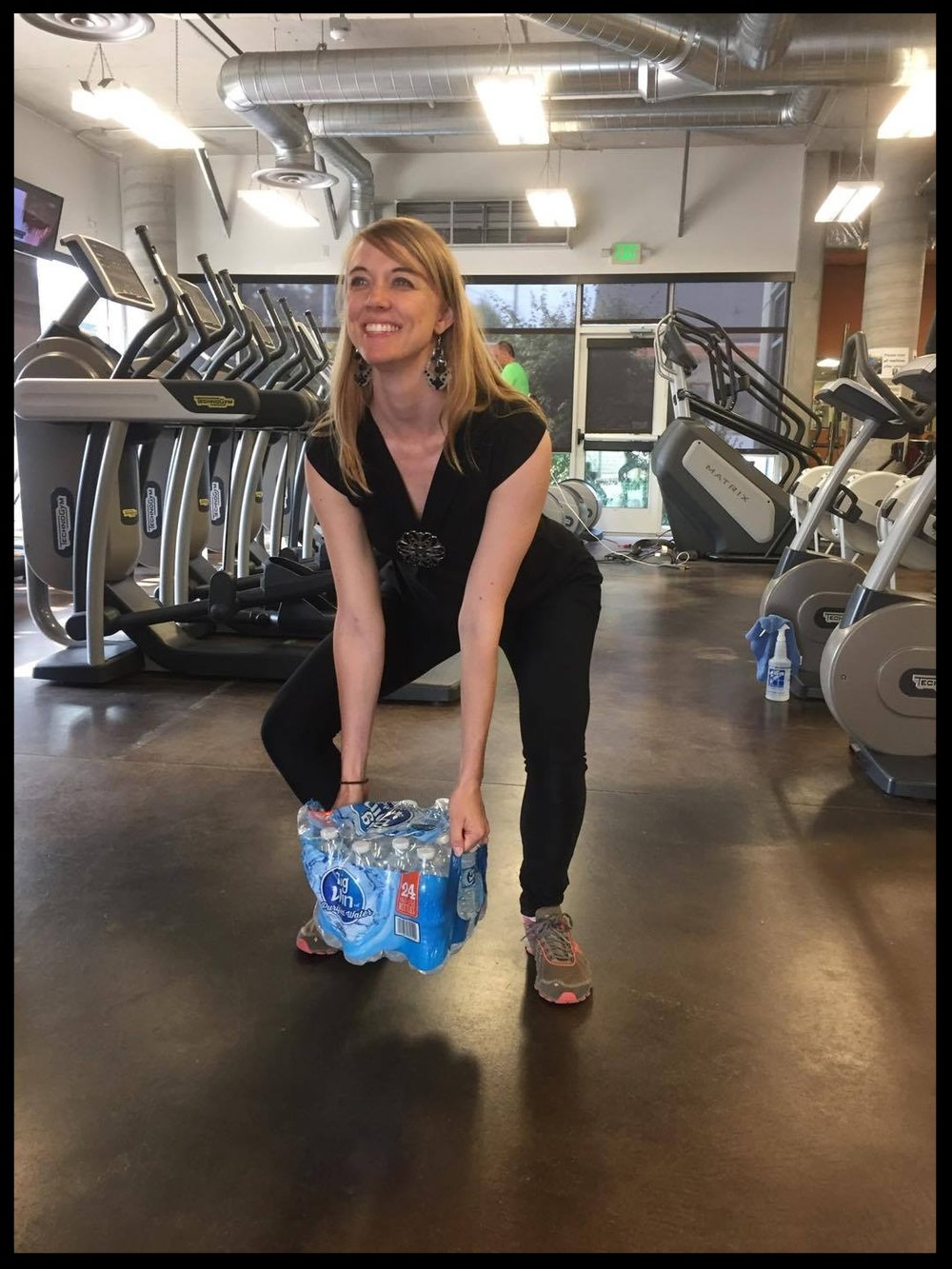 Applying squats & deadlift motions as learned at Group Training to real life (a.k.a. carrying bottles of water)