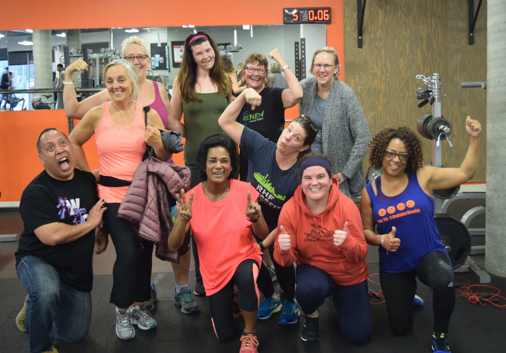 Nancy (second from right, back row) with Group Training participants at RHF's Member Appreciation Workout, April 2018