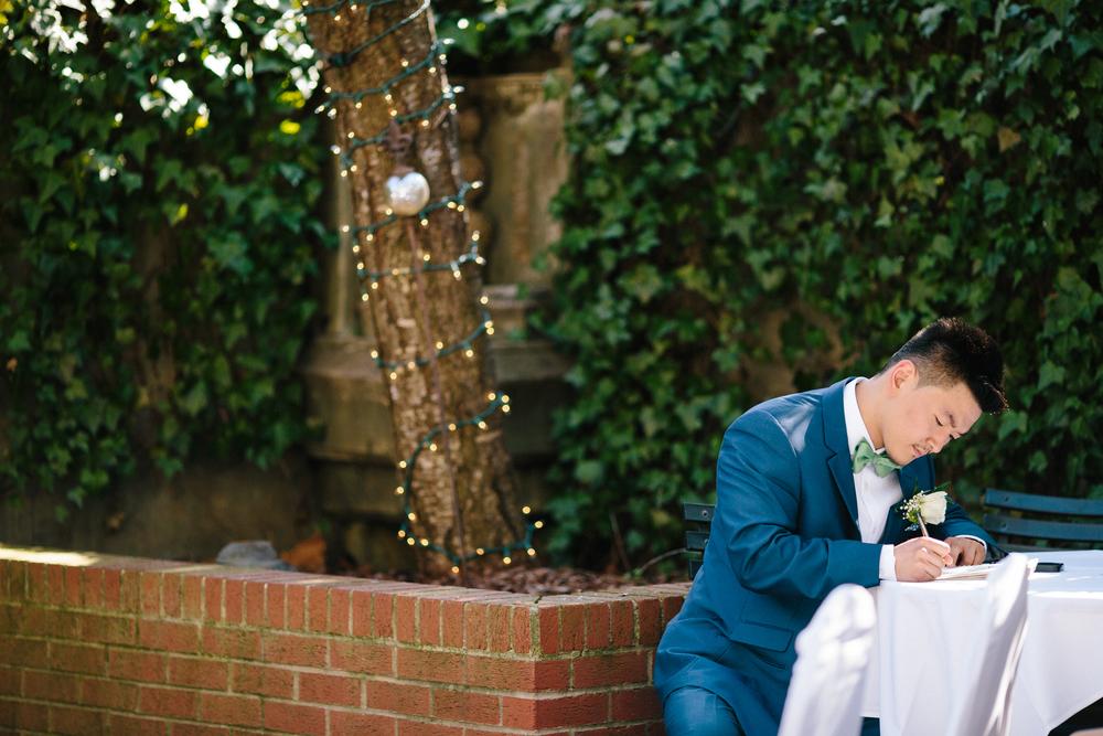 Kenmore Inn Wedding, Garden Wedding, Virginia Garden Wedding, Fredericksburg Virginia Wedding, Minnesota Wedding Photographer, Groom's reaction, Flower Crown Bride, Flower Crown, Intimate Wedding, Second Photographer, Allison Hopperstad Photography, www.allisonhopperstad.com