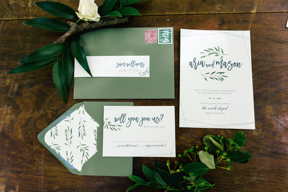 Romantic Woodland Invitations Allison Hopperstad Photography