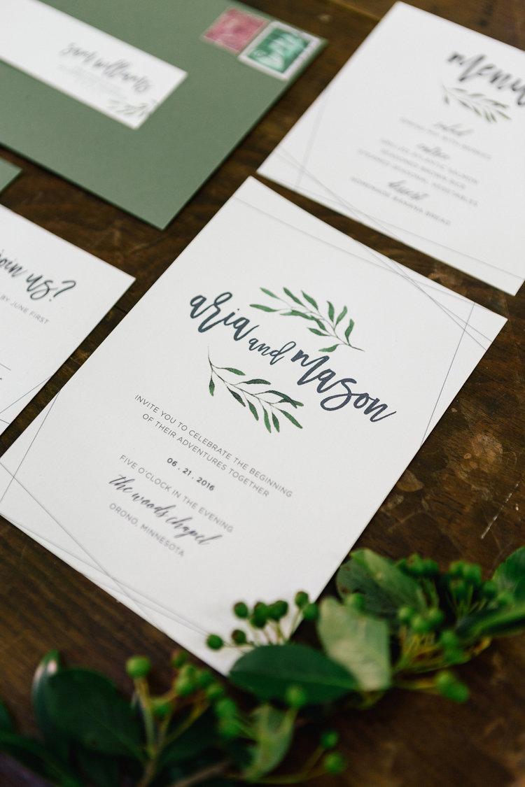 Greenery Invitations // Woods Chapel Styled Shoot — Allison ...