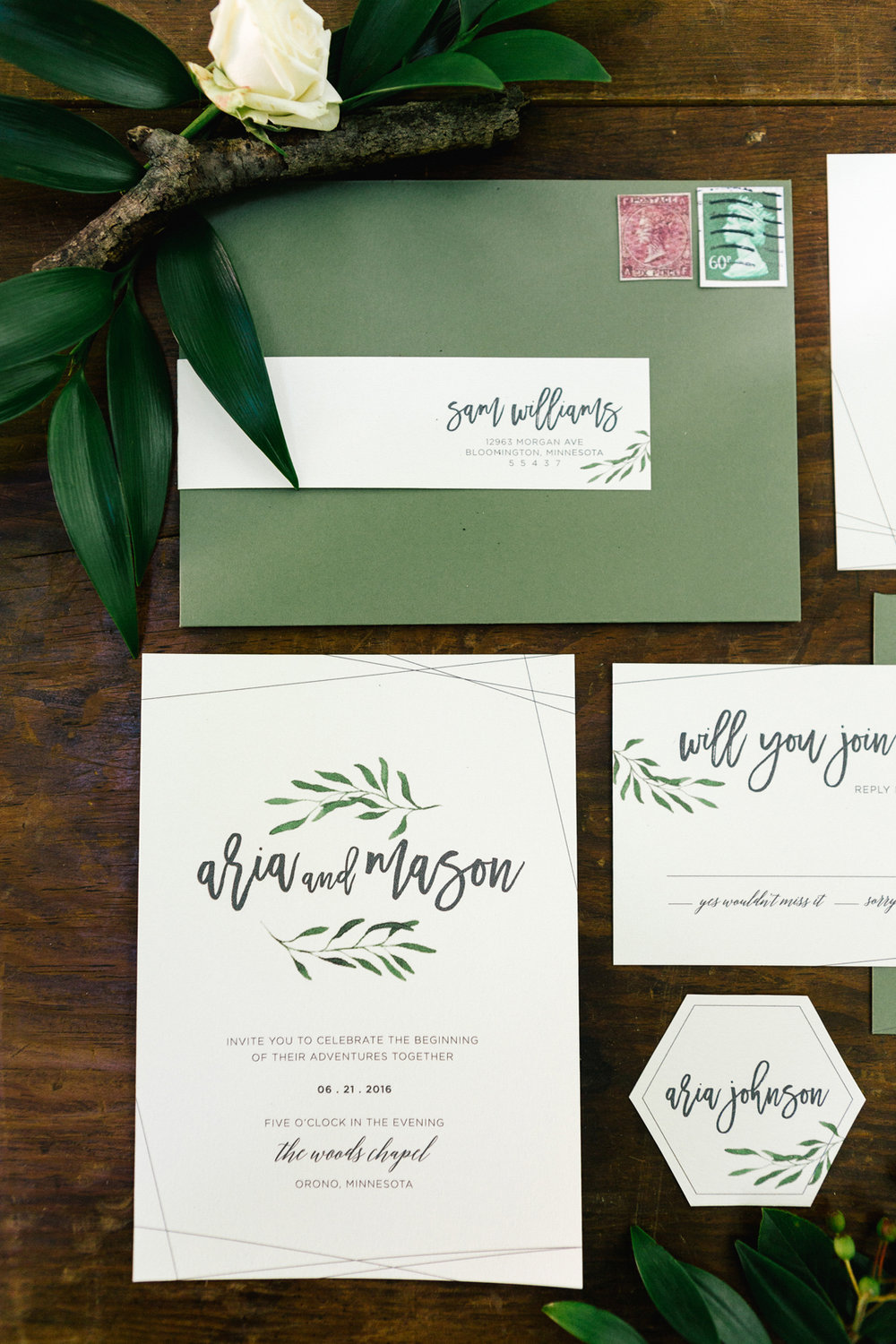Allison Hopperstad Photography, Allison Hopperstsd Design, www.allisonhopperstad.com, Wedding Stationery, Wedding Stationery Designer, Custom Wedding Stationery, Invitation Designer, Wedding Invitations, Green Wedding Invitations, Woodland Wedding Invitations, The Woods Chapel wedding, Minnesota Wedding Stationery, Minnesota Summer Wedding