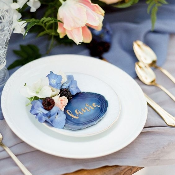 Blue Agate Coasters  Size: Quantity 10 Rental: $3 each ($5 with custom white/gold lettering)