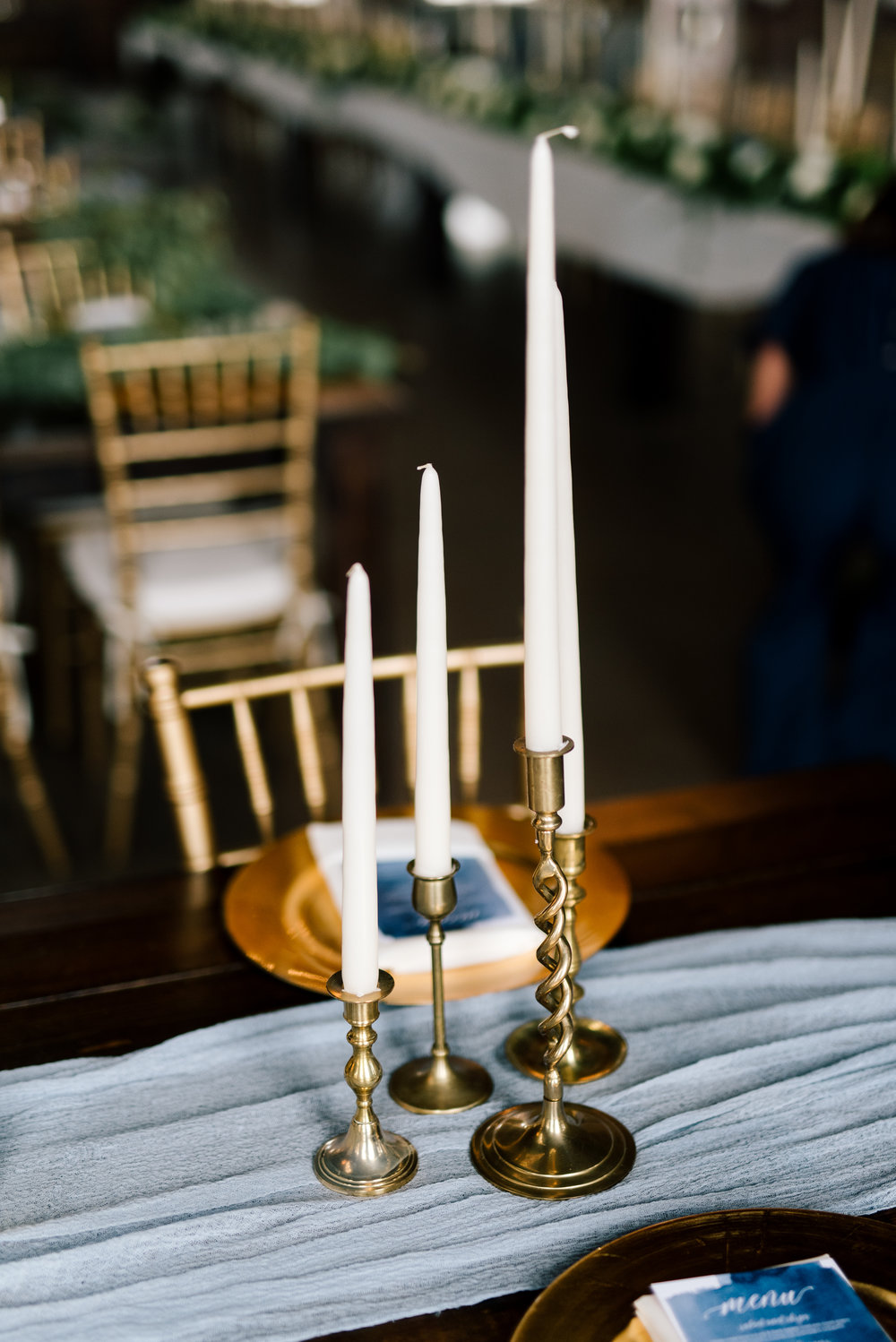"Brass Taper Candlesticks   Size: Ranges 3"" - 12"" tall Quantity: 200 Rental: under 100 $1.5, over 100 $1"