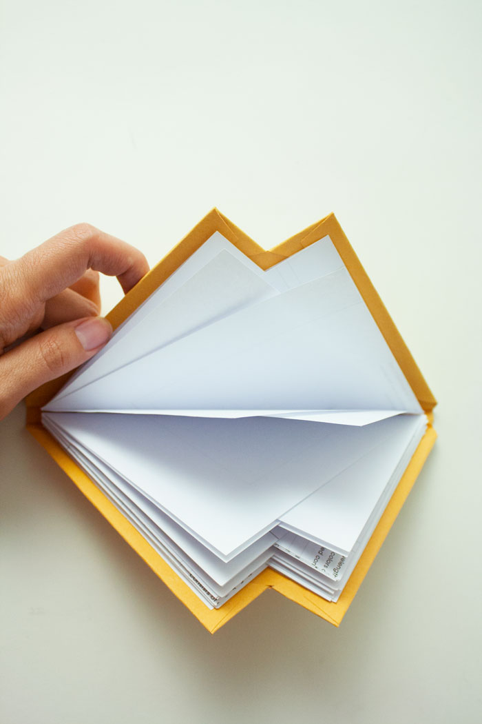 Alternating fold of a rectangle paper.