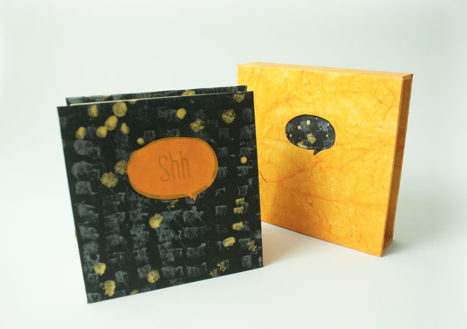Cover paper are hand painted with metallic silver and gold on black paper.