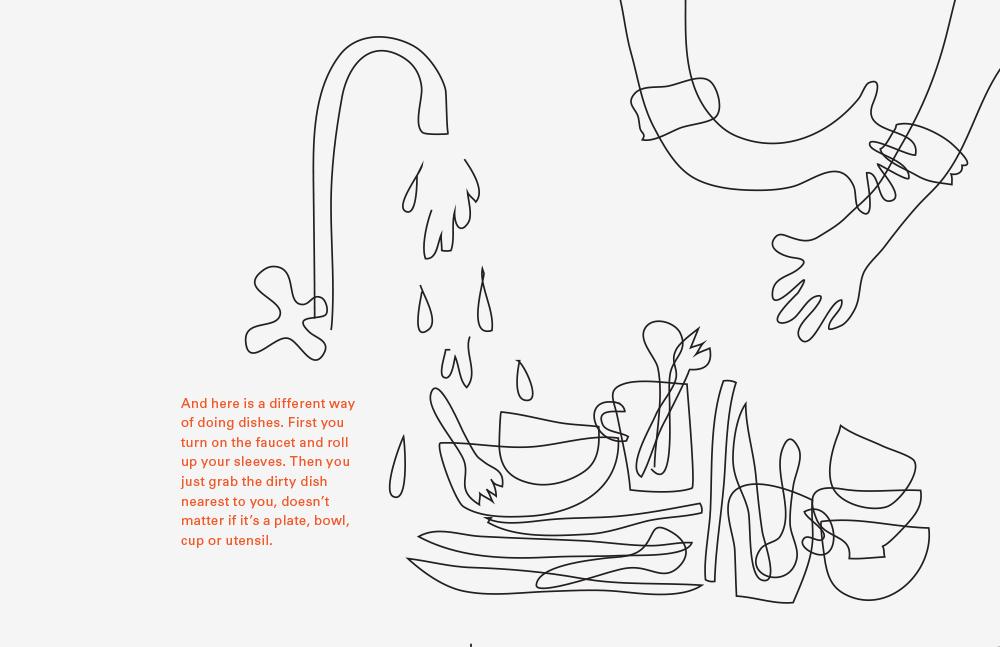 Whimsical illustration about dish washing