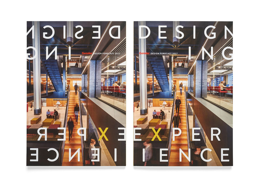 Design Forecast 2017 features mirrored front and back cover and a playful treatment on the title.