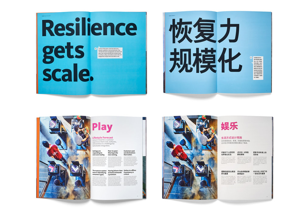 Various spreads showing how the Mandarin version is adjusted because of the length of text and font sizes.