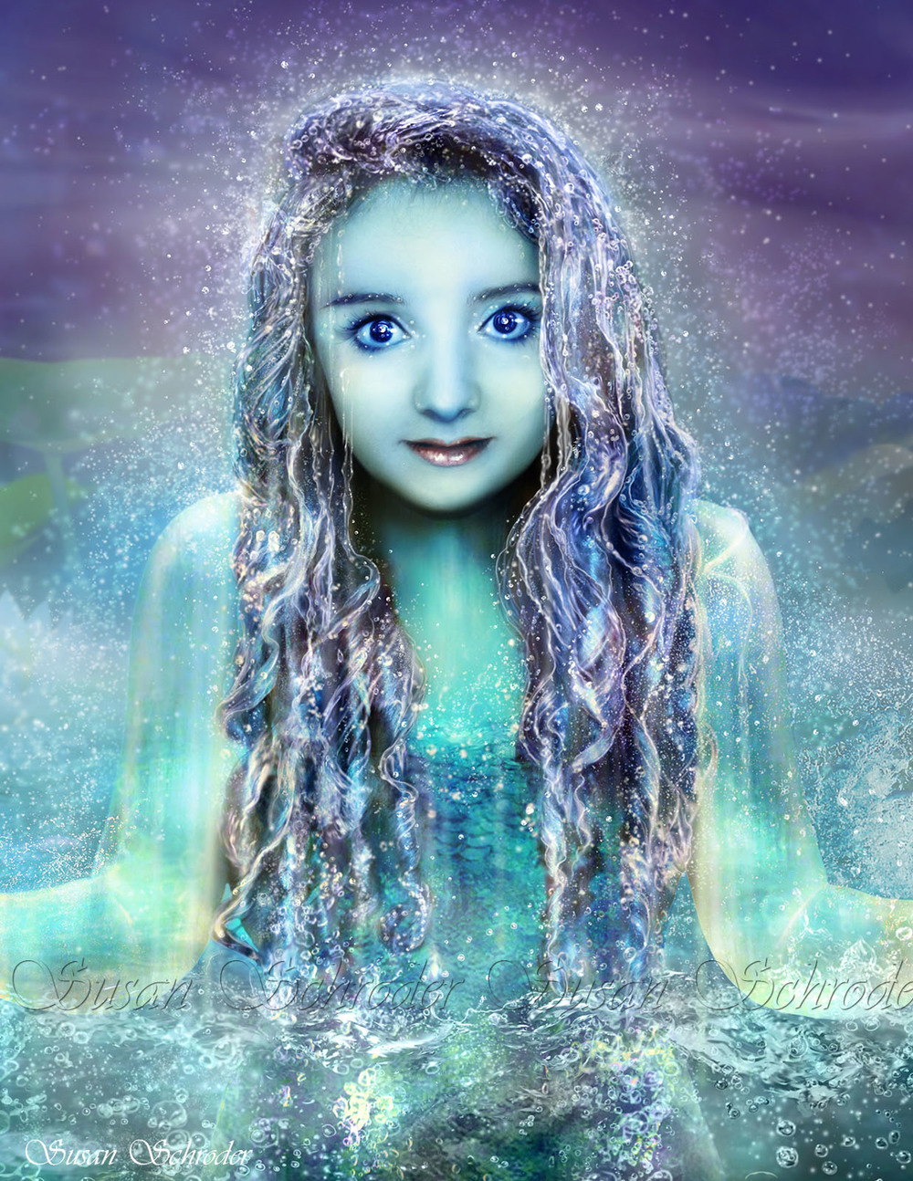 This is an example of a Digital Painting from a real person model and is a small detail of a larger work.   I  painted thousands of tiny, individual water drops and bubbles to create this beautiful Naiad emerging from the water!  Click on image to enlarge.
