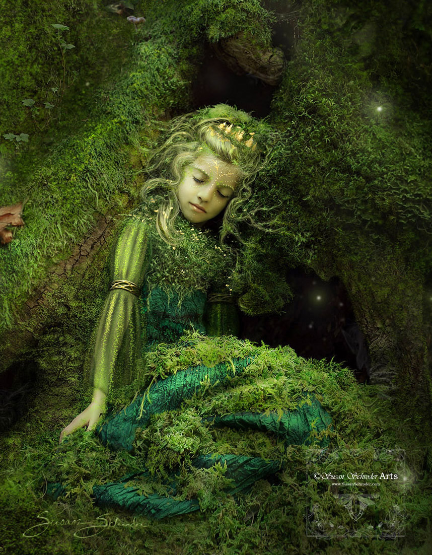 I love the final result. Sleeping Forest Treasure is also a character in my Circle the Sun illustrated book series. Her name is Princess Amara and she is the daughter of the Hedgecreek Dryad, Queen Sera (in the above example).  On a side note:  These two models are also mother and daughter in real life! -