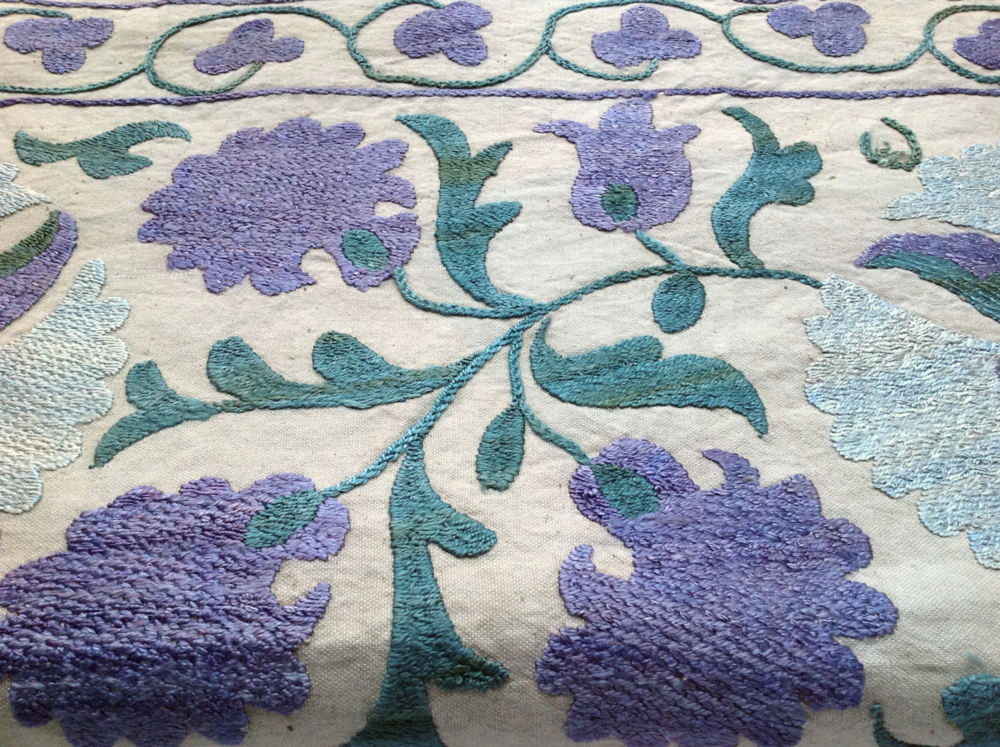 suzani, silk on cotton, detail
