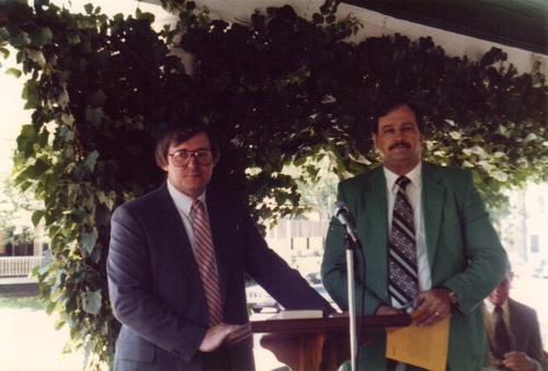 Dr. Rentz (left) and Dr. Pruett (right). June 1987 at the dedication of the Alabama Street Location.