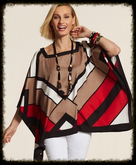 Poncho in on-trend colors from  Chico's