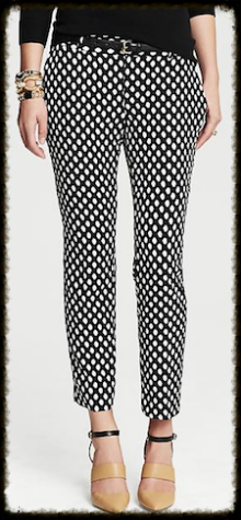 The color and print of the sason: Camden-Fit Dot-Print Ankle Pant from Banana Republic