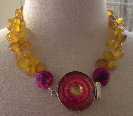 VINTAGE CZECH GLASS BUTTON ENCASED IN STERLING SILVER, SUNSHINE AGATE AND CITRINE. $270