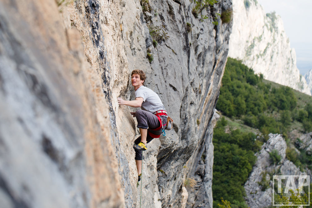 A paradise for all mountain sports, Vratsa not only contains about 500 caves it is also the most developed trad and sport climbing region in Bulgaria. Pictured: Read Macadam