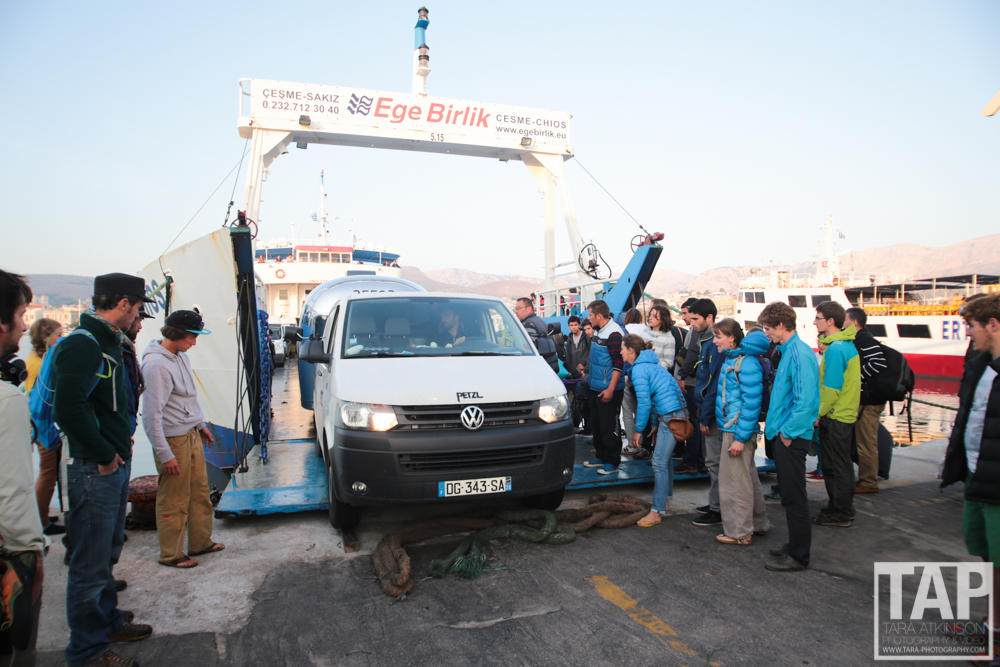 On arrival into Chios, chaos ensued. Cars and caravans struggled to load and local passport control didn't know how to handle so many people. This was the final shot of the Petzl Caravan valiantly making it onto the ferry before we left.