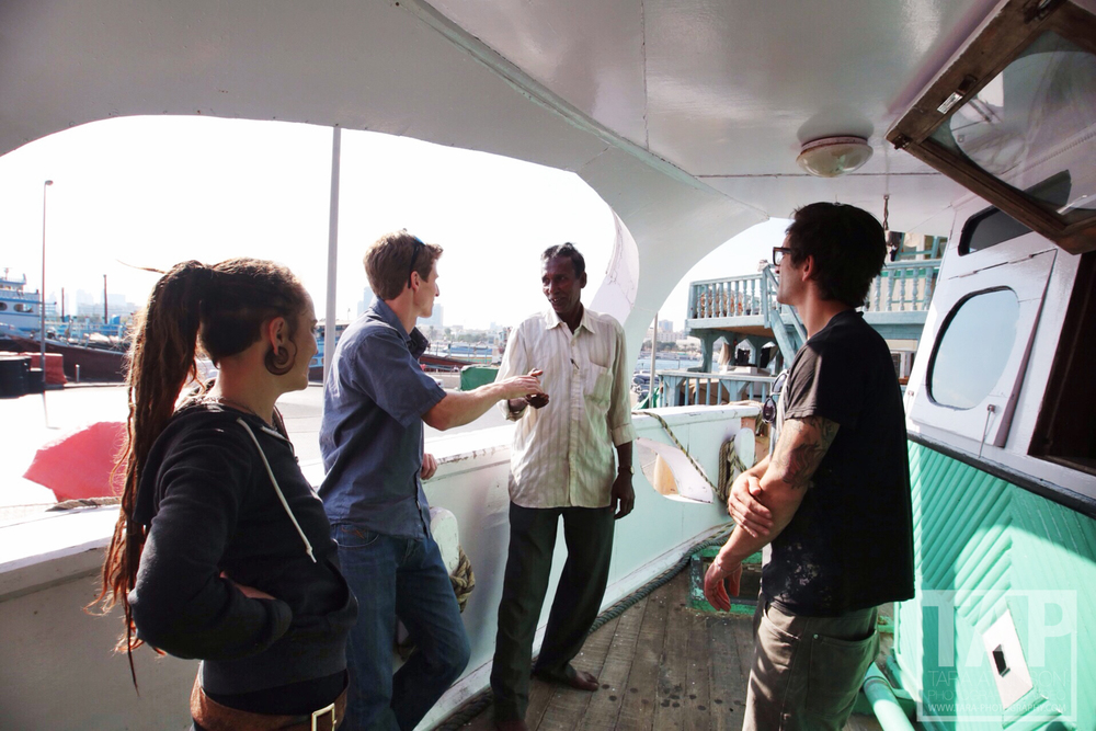 This dhow with it's Bangladeshi crew were heading to Mogadishu, Somalia the following day. We got on board to have a chat with the captain and great chance encounter!