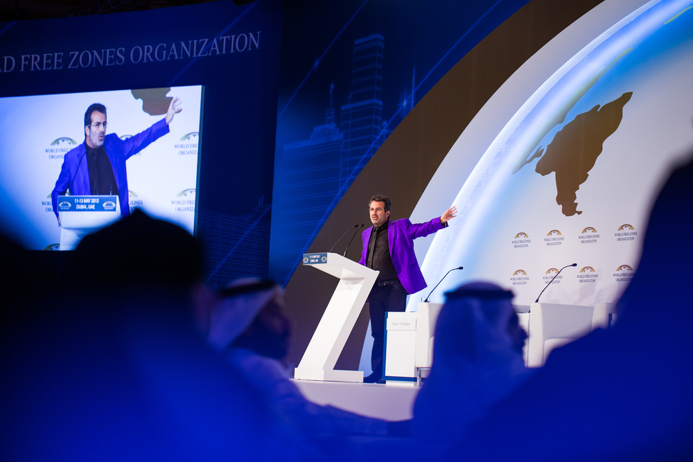 A speaker at the World Free Zones organisation conference in Dubai.