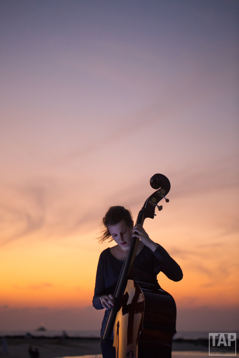 Cello Player on the beach, Dubai