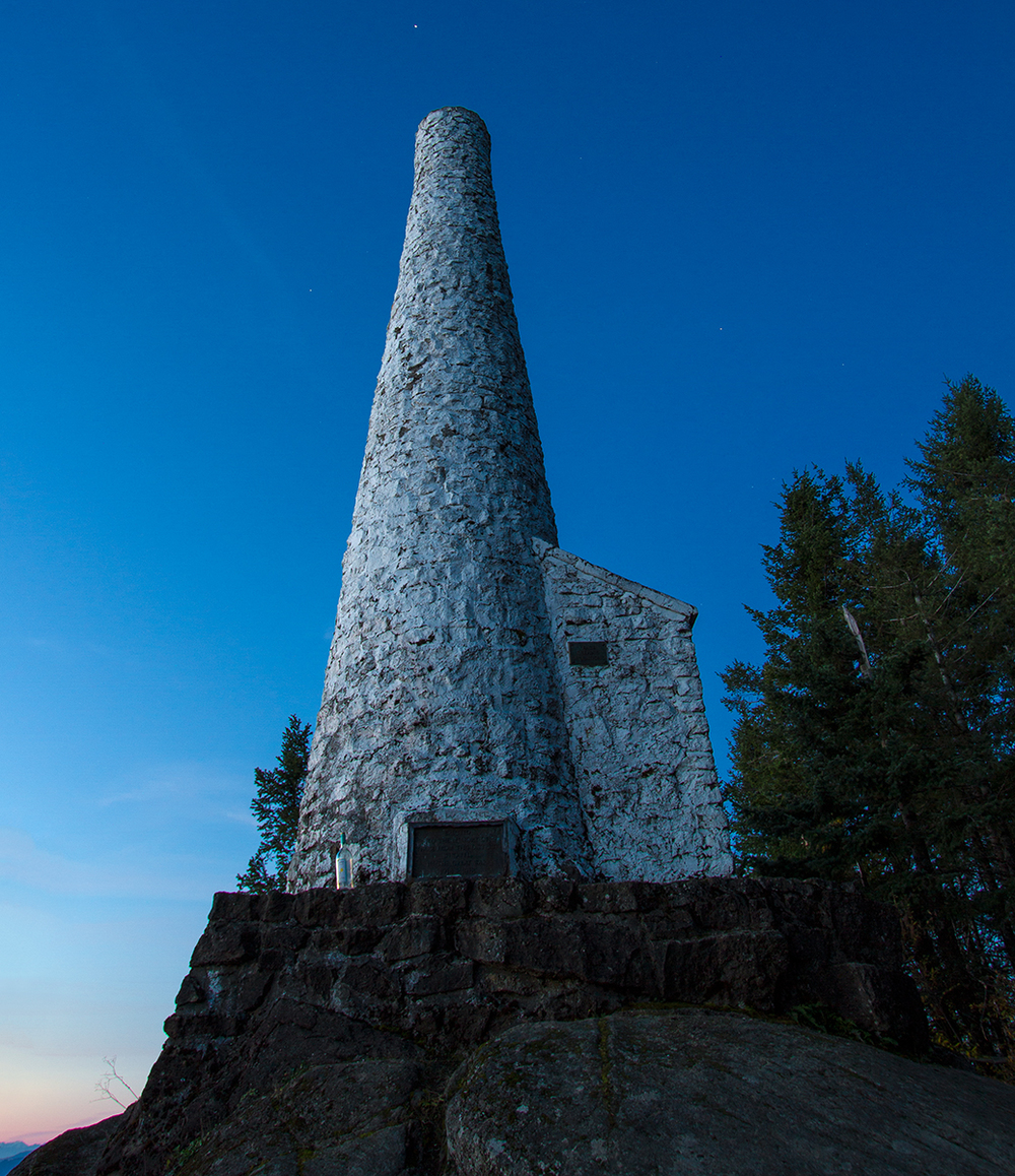 The War Cairn on Mount Prevost in Duncan on Vancouver Island