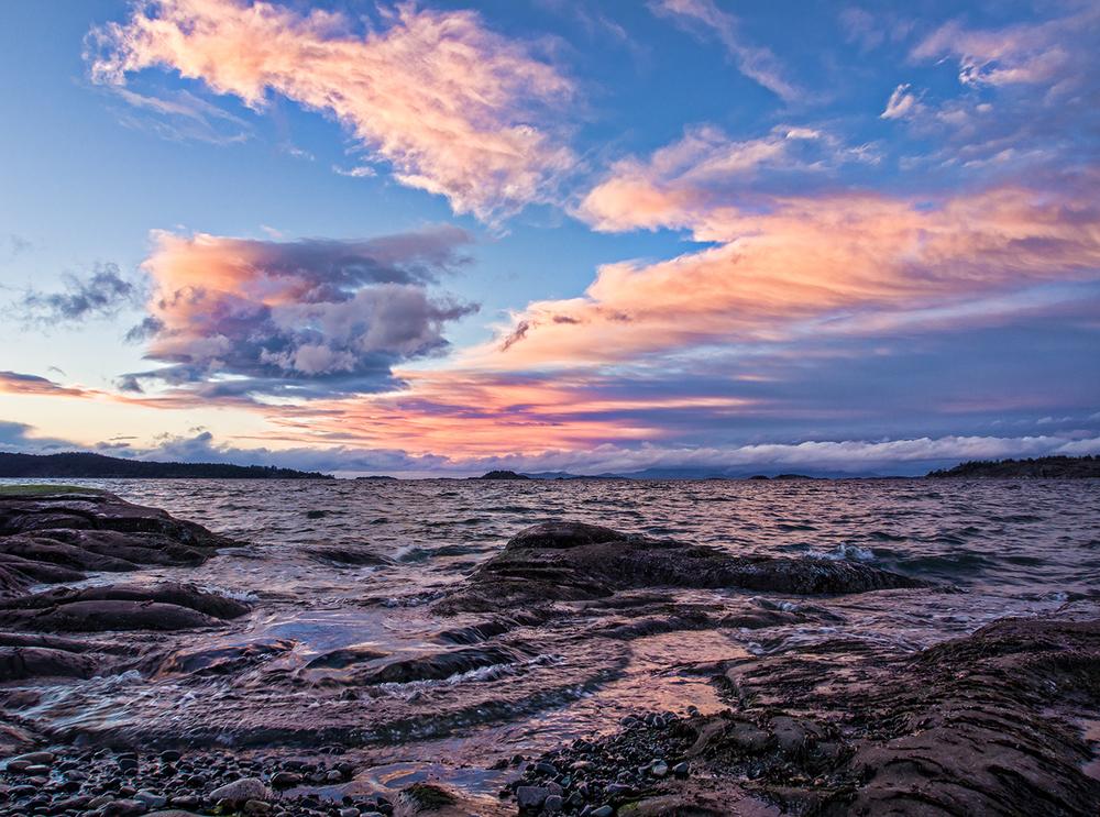 A beautiful February sunset at Sebastian Beach in Lantzville