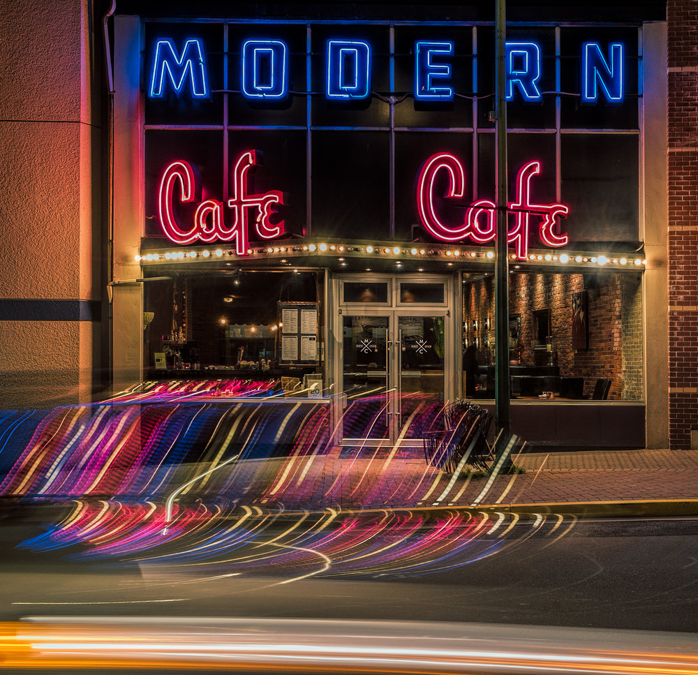 Modern Cafe Light Trails