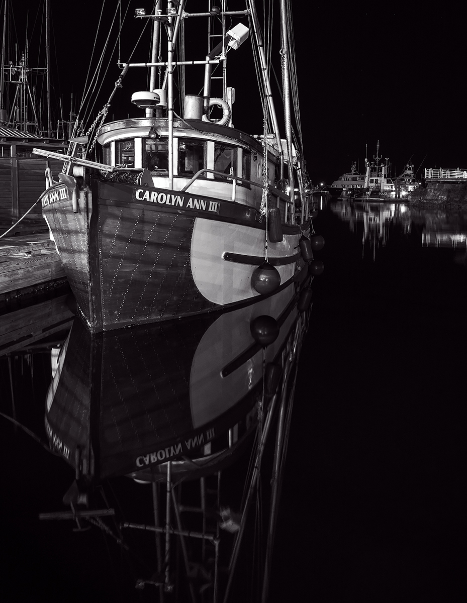 The Nanaimo Commercial Boat Basin at night