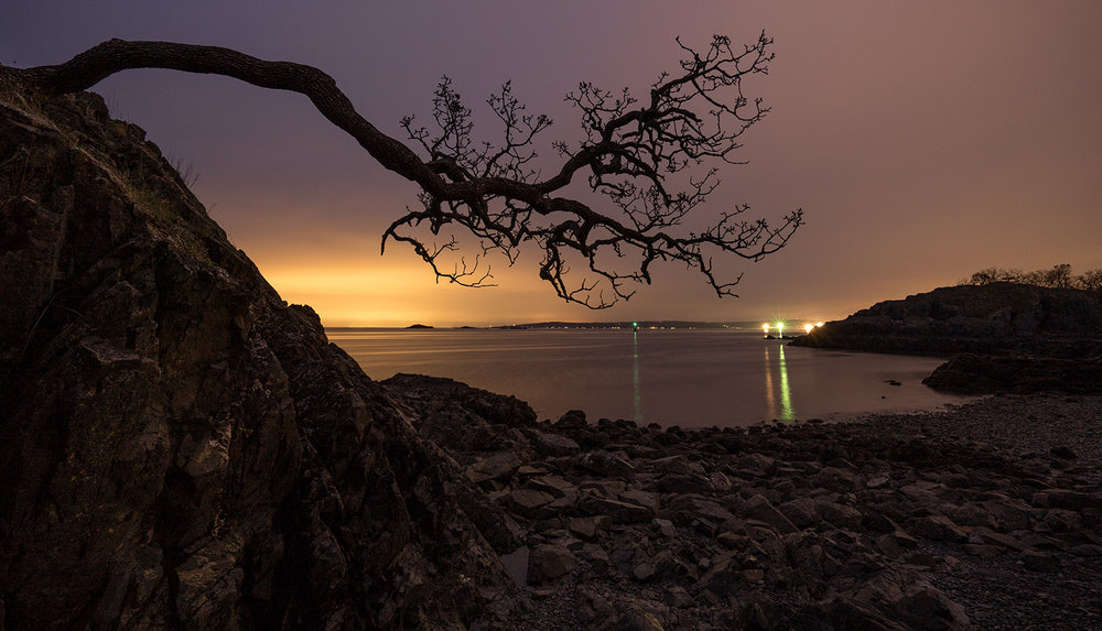 Pipers Lagoon with the lights of Vancouver in the background