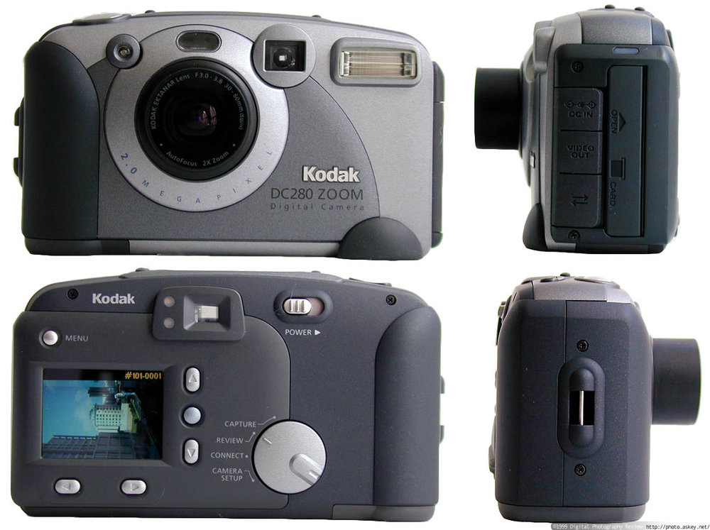 My 1st digital camera, the Kodak DC280 - Bought in 1999, this 2 megapixel monster had a 30mm-60mm F3.0 lens and an honest to goodness 1.8 inch lcd rear display! It also had a wonderful low light option of 200 iso!!