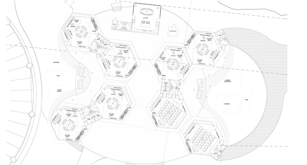 Case history a new school campus imagine red for Honeycomb house floor plan