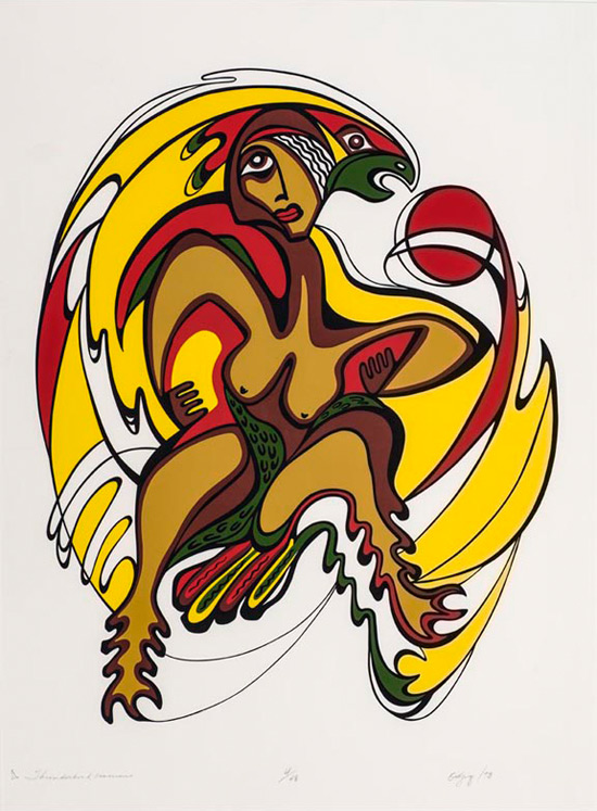 Thunderbird Woman, 1973, serigraph on paper. Collection of the Winnipeg Art Gallery.