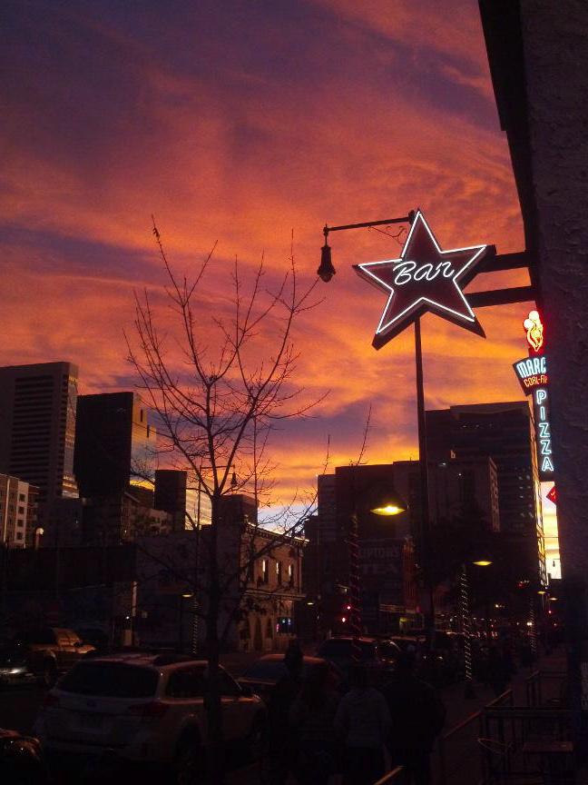Orange sunset outside Star Bar