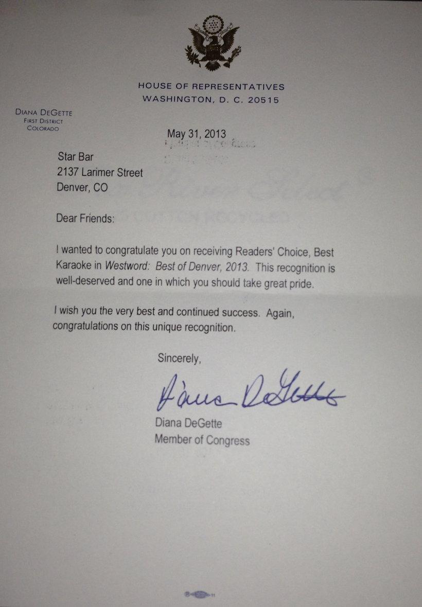 Best Karaoke in Westword: Best of Denver 2013 letter of congratulations from Congresswoman Diana DeGette