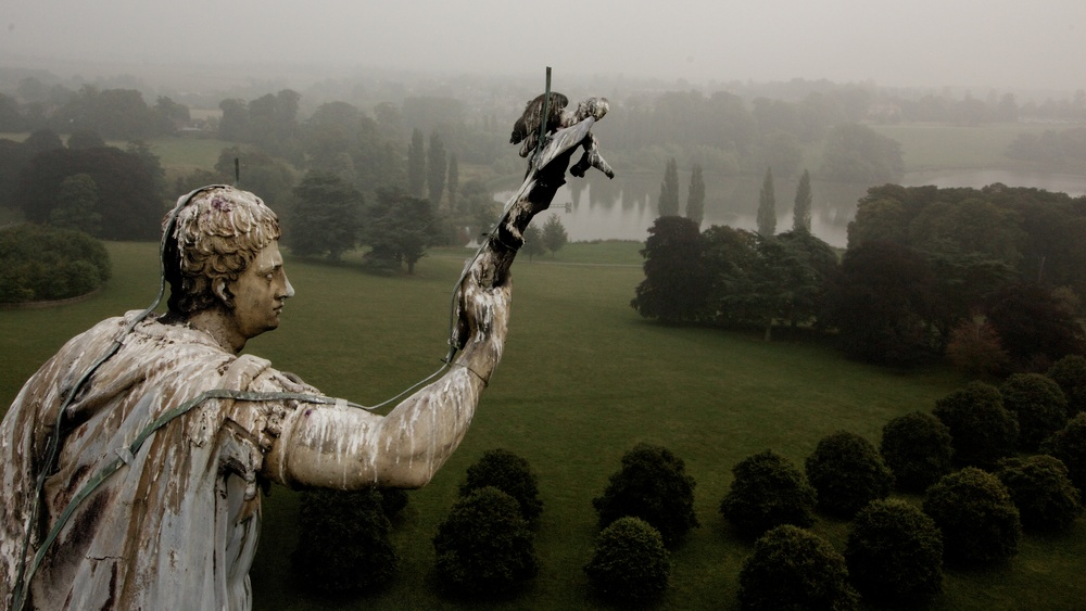 Photograph from an aerial survey of the Column of Victory at Blenheim Palace, Woodstock, Oxfordshire, UK. Taken as part of a structural survey of the 270 year old statue of the Duke of Marlborough, using the Highline Aerial Media Cinestar-8 remote controlled multi-rotor helicopter.