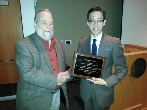 Receiving the John A. Lent Scholarship in Comics Studies from John A. Lent