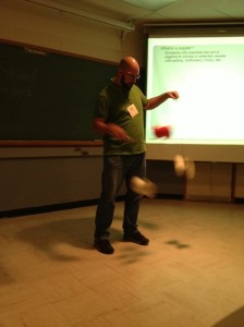 UNB's Duncan Philpot demonstrates that he doesn't just study jugglers, he's also a client