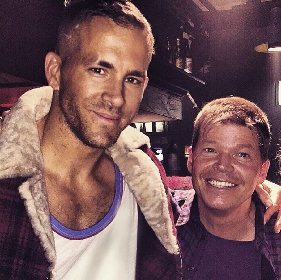 Liefeld and Ryan Reynolds on the set of Deadpool.