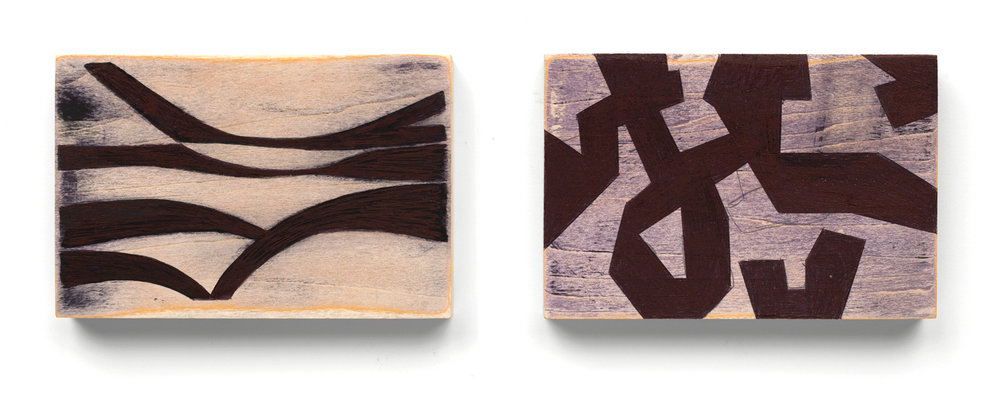 Untitled #10 and #11  2016, each 4x6 in, ballpoint pen on wood panel on wood panel