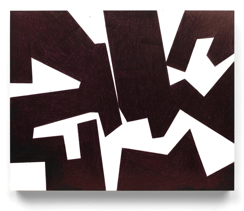 Untitled #13 2016, 8x10 in, ballpoint pen on clayboard