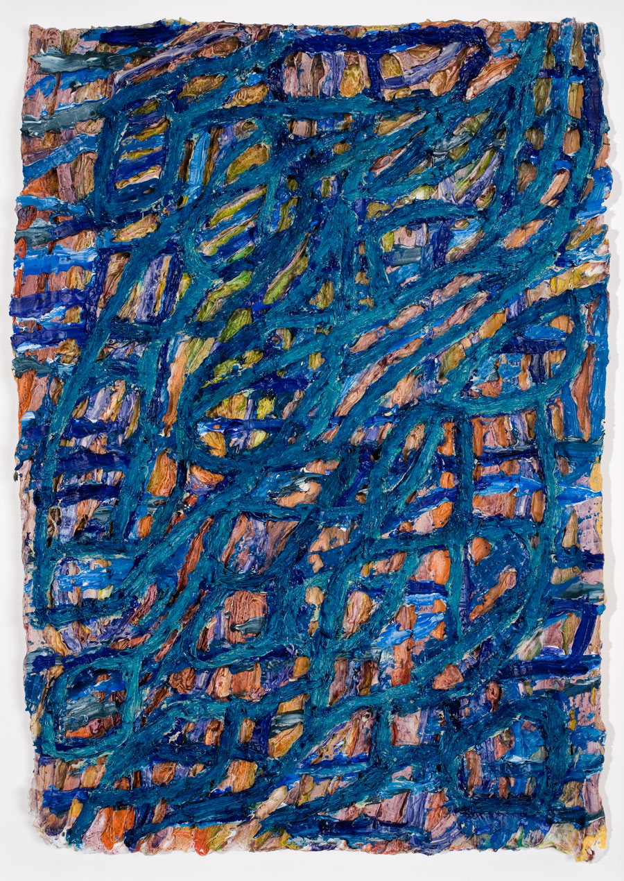 Blue Hami #1  2008, 17x12 in, acrylic and oil paint on handmade paper