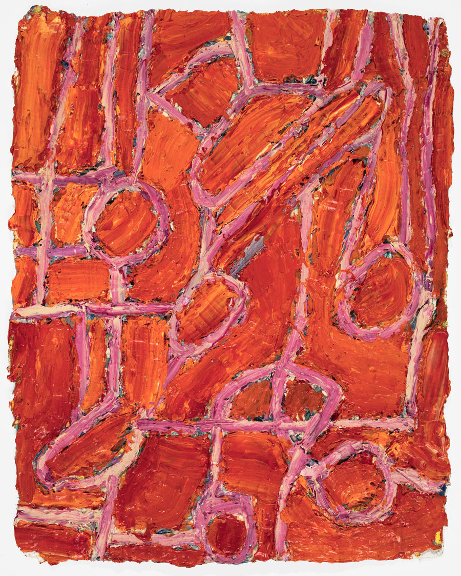 Untitled  2002, 13x10 in, oil paint on handmade paper